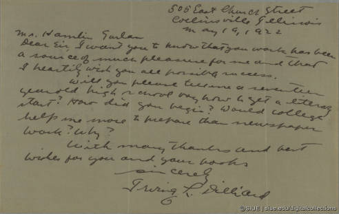 Letter from Dilliard to Hamlin Garland