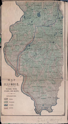 Map Of Illinois U S Showing Its Prairies Woods Swamps And
