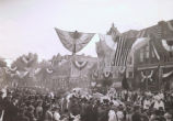 Crowds watching parade