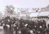 Crowds in front of shops