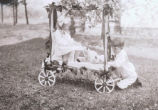 Girl and kittens in wagon with boy in grass