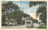 Double deck motor busses on Lincoln Park Drive, Chicago