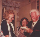 Alumna Cathy Blanford, unidentified woman, and Erik Erikson