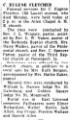 C. Eugene Fletcher obituary 22 March 1952