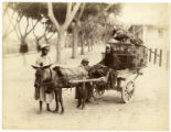 [woman, two children, cart and donkey]