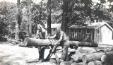 CCC workers sawing logs, Camp 1609, Starved Rock State Park
