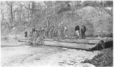 CCC workers on CCC-built barge, Camp 1609, Starved Rock State Park