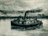 """Archimedes"" on Chicago River, W.E.S. Trowbridge Painting"