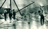 Sanitary and Ship Canal, workers cracking stone