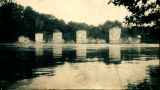 Piers on the Kankakee Feeder Aqueduct crossing the Des Plaines River