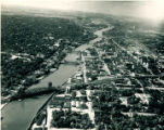 Aerial view of R. I. RR Bridge over Des Plaines River