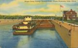 Barges Going Through Brandon Locks, Illinois Waterway, Joliet, Illinois