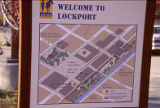 Welcome to Lockport sign, city parking lot near 10th Street, Lockport, IL