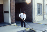 Clean Sweep, man with broom, State Street, Lockport, IL (2)