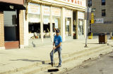 Clean Sweep, man with broom near Ace Hardware, 938 S. State Street, Lockport, IL