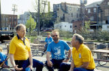 Clean Sweep, five men taking a break at picnic area between 9th and 10 Street at the I&M...