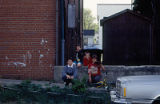 Back of building with five children, between 9th and 10th, Lockport, IL (2)