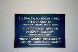 I&M Canal Visitor Center sign, Gaylord Building, Lockport, IL