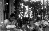 Zack Bell and Georgia Bell on front porch of home in Zion Hill, Kentucky, circa 1946