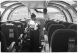 Workers cleaning Vista-Dome on Zephyr coach, 14th Street passenger yards, Chicago, May 1948