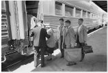 Minnesota. 3. Passengers boarding train at La Crosse