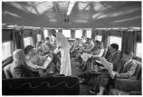 Denver Zephyr en route to Denver-Scenes in parlor observation car