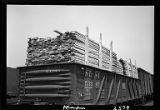Lumber loaded in railroad car, Western Avenue rail yards, Chicago, 1948