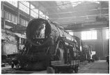 Locomotive being repaired at shops