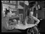 Near Sheridan-Brakeman (left) and conductor of freight train have cup of coffee