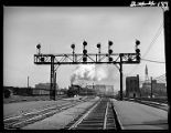 Signal tower at Western Avenue rail yards, Chicago, 1948
