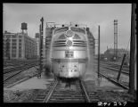 Zephyr locomotive in car wash, 14th Street passenger yards, Chicago, May 1948