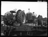 Load of tractors on flat car-Galesburg, Il.