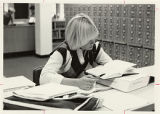 Female Student studying in Wallgren library, 1985, photo by KJ