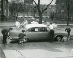 Student Candid of Car Wash in front of Sohlberg Hall
