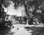 Demolition crews raze the houses along Spaulding Avenue on the North Park College campus, Chicago,...