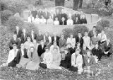 Diane Dahlin Lind and Priscilla Norling and many others in a courtyard group photograph at North...