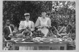 Mrs. Petterson and Anderson at the fruit table at Kibunzi