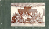 The girls' school in Icheng, China. Many Chinese girls standing in front of their school