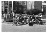 A band playing in the street in front of Nyvall Hall 1981
