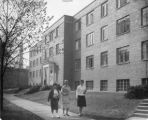 Students in front of Sohlberg Hall, ca. 1950s