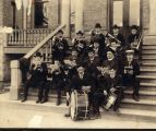 North Park College Band sitting on Old Main Steps, 1901
