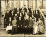 North Park Academy Sitting on Steps of Old Main, 1908