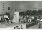 President Olsson addresses students during Vietnam War, 1970
