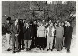 Norwegian Students at North Park with Charlie Peterson 1/19, outside Magnuson Campus Center, winter