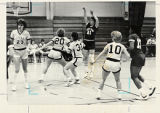 North Park Women's Basketball, North Park versus Cougars, 1986, North Park shoot at basket