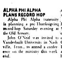 ALPHA PHI ALPHA PLANS RECORD HOP