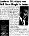 Southern's Dick Gregory Here With Dizzy Gillespie For Concert