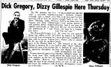 Dick Gregory, Dizzy Gillespie Here Thursday