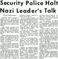 Security Police Halt Nazi Leader's Talk
