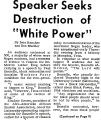 "Speaker Seelcs Destruction of ""White Power"""